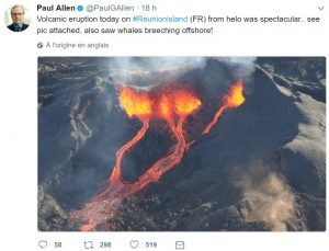 Paul Allen tweete sur l'éruption du Piton de la Fournaise