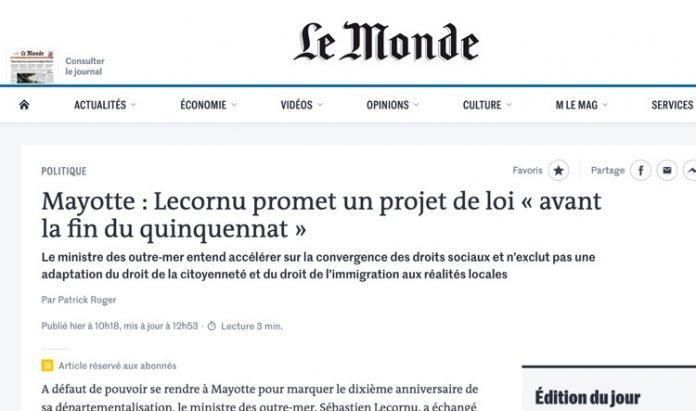 Sébastien Lecornu, Mayotte, Mansour Kamardine, Thani MOhamed Soilihi, Le MOnde